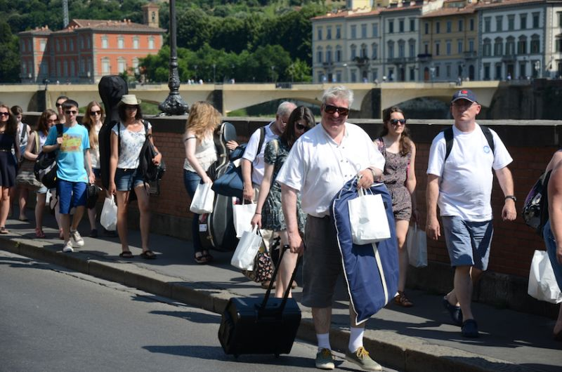 07 - Mr Young and our musical doctor striding out in the Florence sun