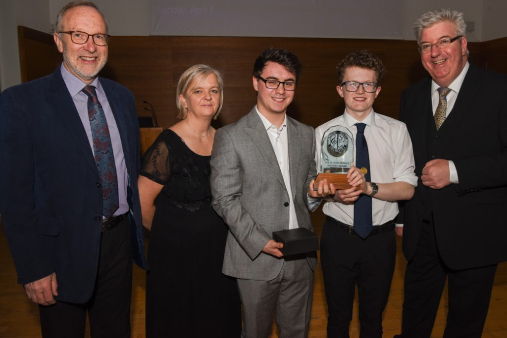 L-R - Mr Gordon Murch, Ms Lorna McGovern, Fraser MacDonald (pianist), Guy Bathgate (percussionist) and Mr Allan Young.
